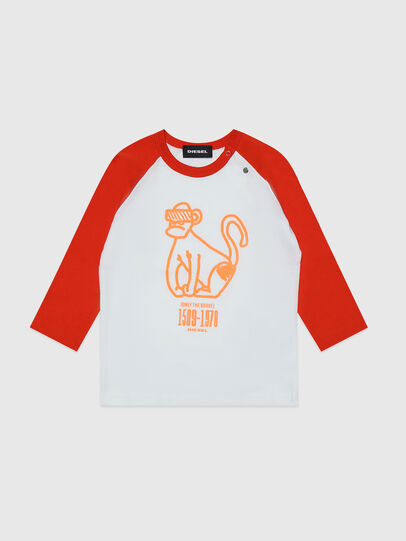 Diesel - TBALYB, Blanco/Naranja - Camisetas y Tops - Image 1