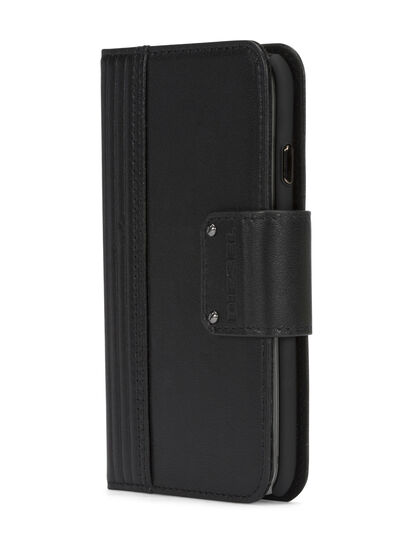 Diesel - BLACK LINED LEATHER IPHONE 8 PLUS/7 PLUS FOLIO, Negro - Fundas tipo libro - Image 2