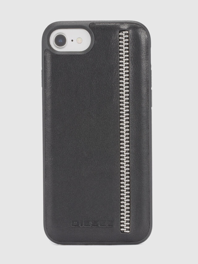 Diesel - ZIP BLACK LEATHER IPHONE 8/7/6s/6 CASE, Negro - Fundas - Image 2