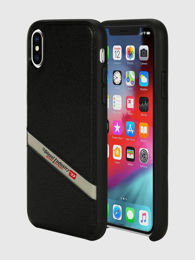 Diesel - DIESEL LEATHER CO-MOLD CASE FOR IPHONE XS & IPHONE X, Negro - Fundas - Image 1