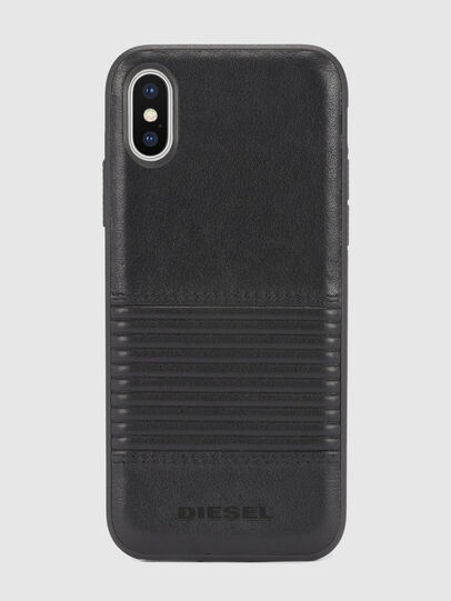 Diesel - BLACK LINED LEATHER IPHONE X CASE,  - Fundas - Image 2