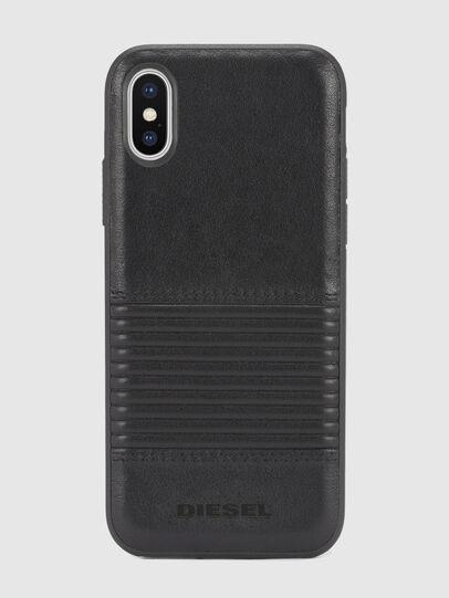 Diesel - BLACK LINED LEATHER IPHONE X CASE, Piel Negra - Fundas - Image 2