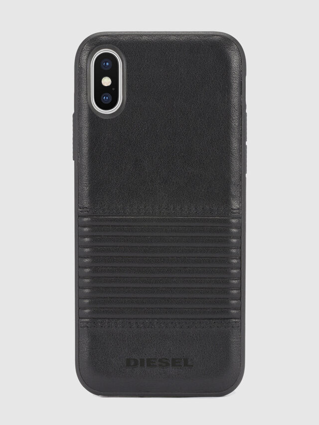 BLACK LINED LEATHER IPHONE X CASE, Piel Negra