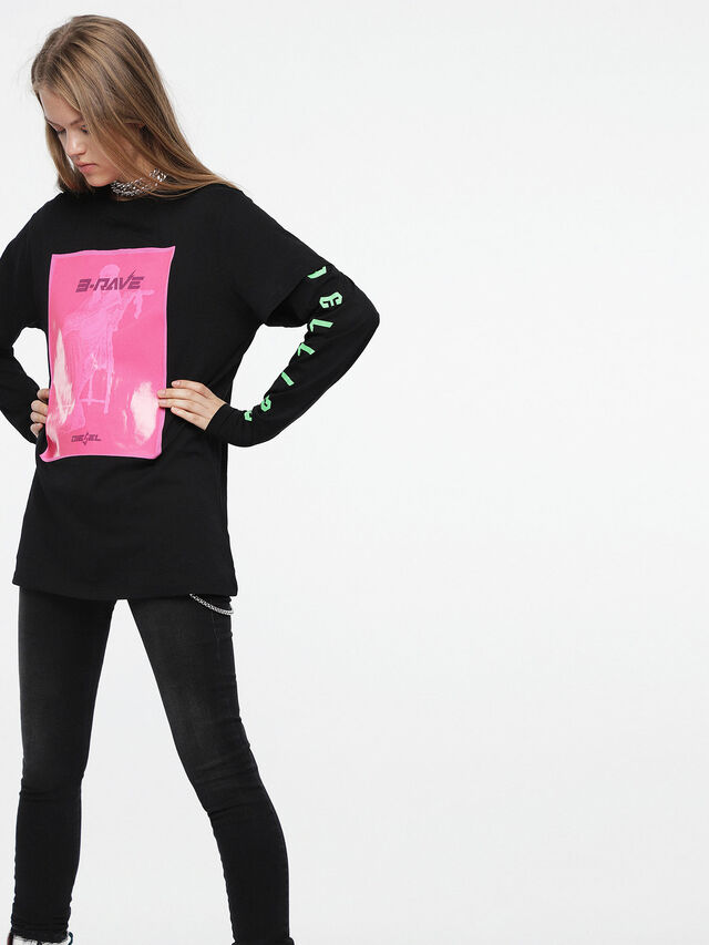 Diesel - T-DARIA-C, Negro/Rosa - Camisetas - Image 1