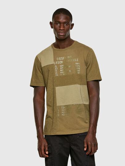 Diesel - T-ATCHWORK, Verde Militar - Camisetas - Image 1