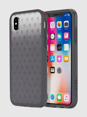 MOHICAN HEAD DOTS BLACK IPHONE X CASE, Negro/Gris - Fundas