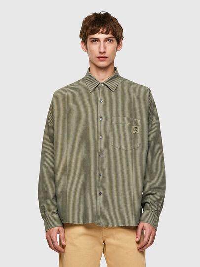 Diesel - S-LOOMY-B, Verde Militar - Camisas - Image 1