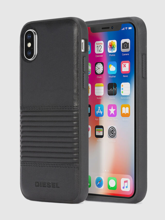 BLACK LINED LEATHER IPHONE X CASE, Negro
