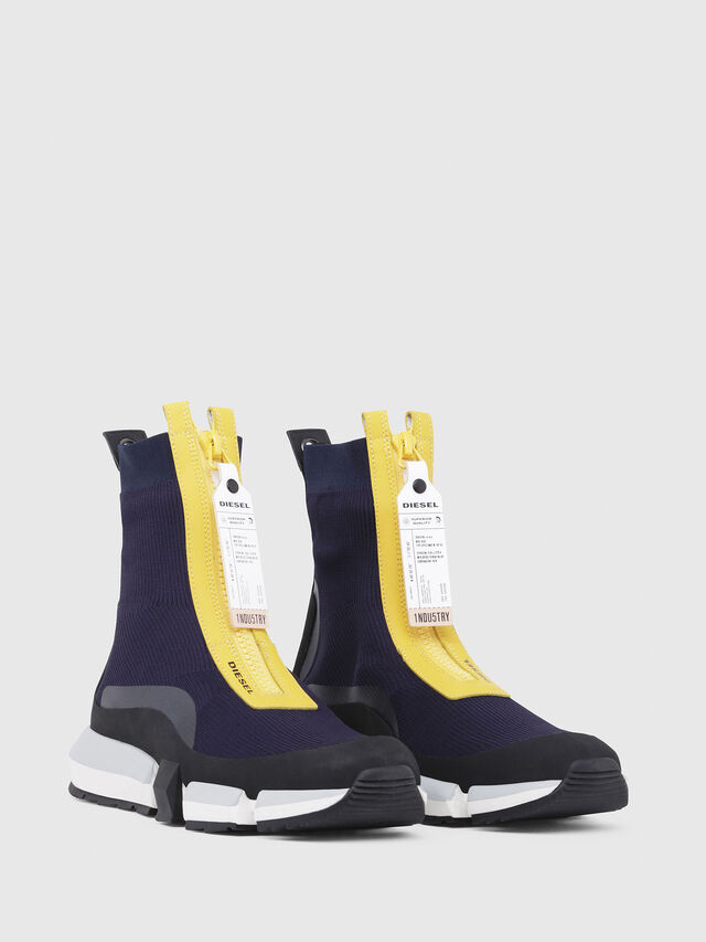 Diesel - H-PADOLA MID ZIP, Azul/Amarillo - Sneakers - Image 2