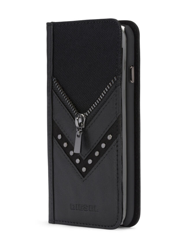 BLACK DENIM/STUD/ZIPPER IPHONE 8/7 FOLIO, Negro