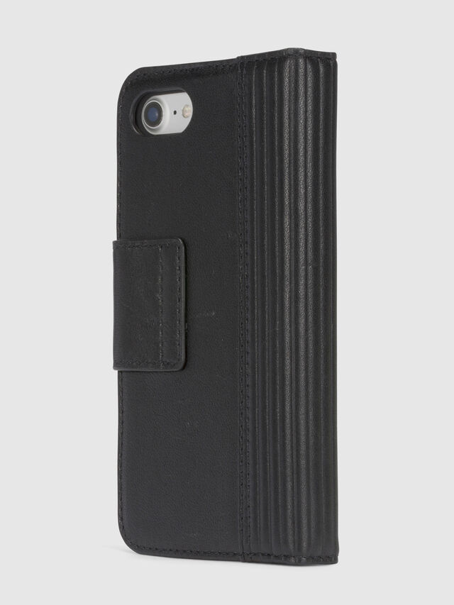 Diesel BLACK LINED LEATHER IPHONE 8/7 FOLIO, Negro - Fundas tipo libro - Image 5