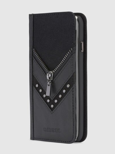 Diesel - BLACK DENIM/STUD/ZIPPER IPHONE X FOLIO, Negro - Fundas tipo libro - Image 4