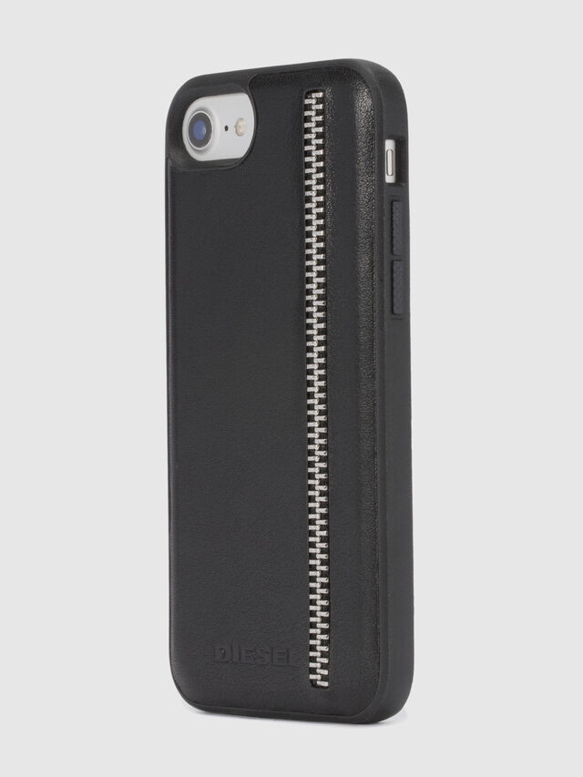 Diesel - ZIP BLACK LEATHER IPHONE 8 PLUS/7 PLUS/6s PLUS/6 PLUS CASE, Negro - Fundas - Image 6