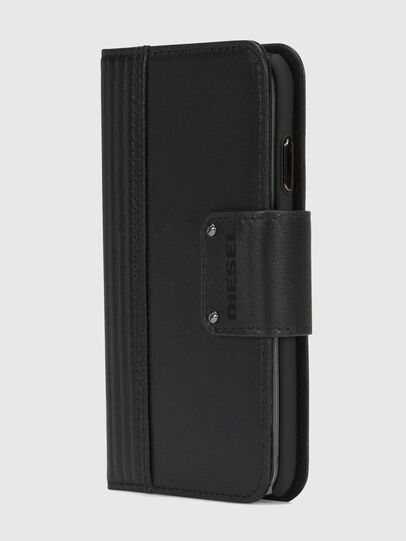 Diesel - BLACK LINED LEATHER IPHONE X FOLIO,  - Fundas tipo libro - Image 3