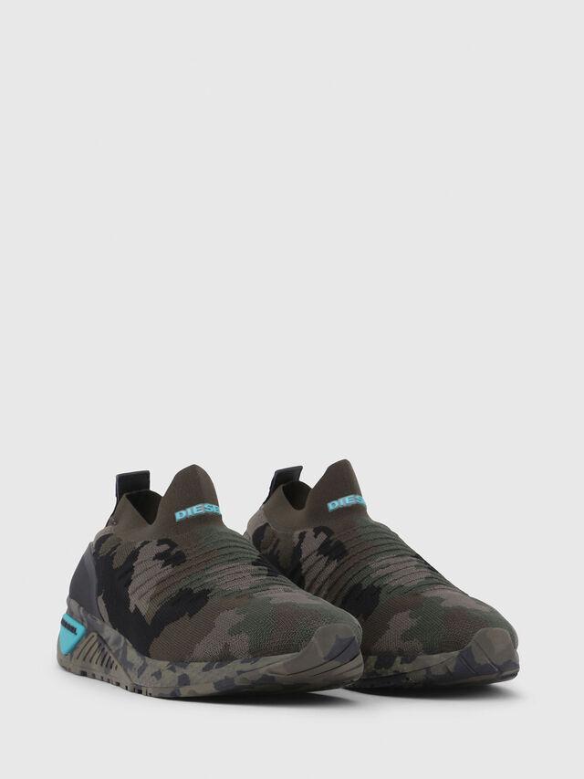 Diesel - S-KB ATHL SOCK, Verde Camuflaje - Sneakers - Image 2