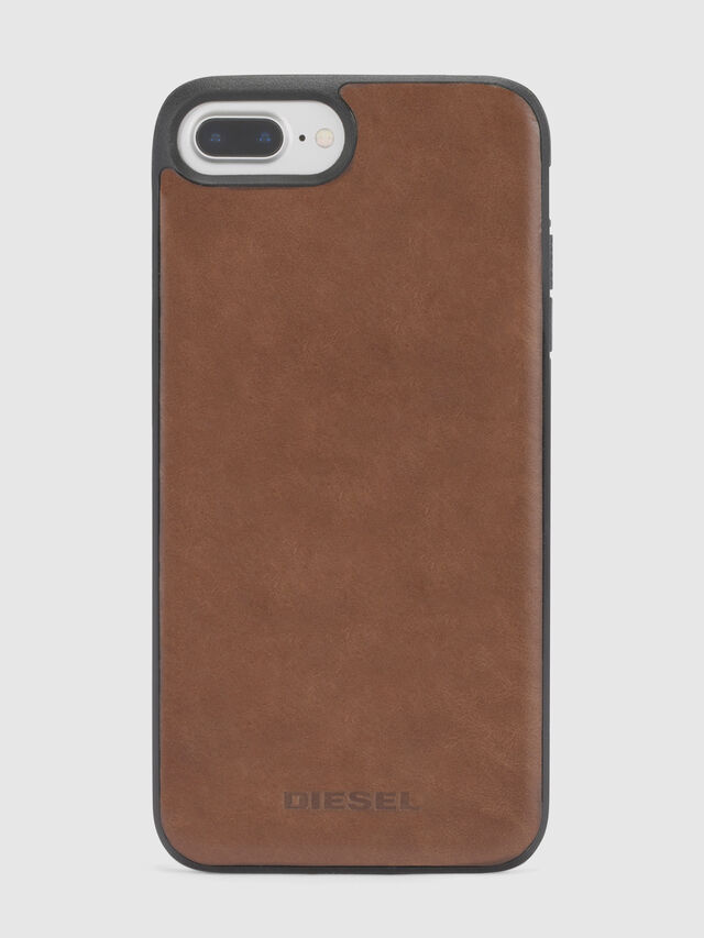 Diesel - BROWN LEATHER IPHONE 8 PLUS/7 PLUS/6s PLUS/6 PLUS CASE, Marrón - Fundas - Image 3