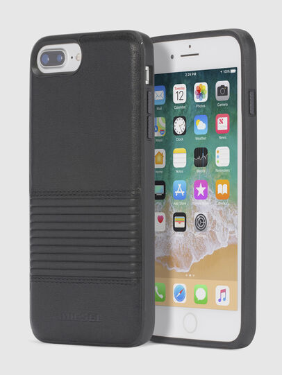 Diesel - BLACK LINED LEATHER IPHONE 8 PLUS/7 PLUS/6s PLUS/6 PLUS CASE, Negro - Fundas - Image 1