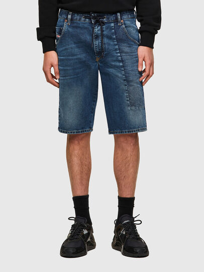 Diesel - D-KROOSHORT-Y-GO JOGGJEANS, Azul Oscuro - Shorts - Image 1