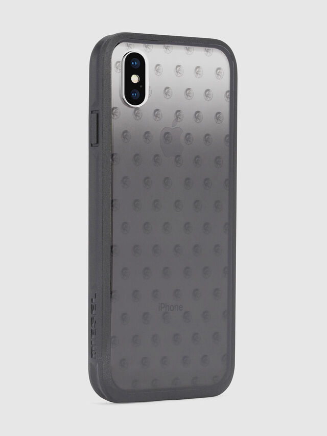 MOHICAN HEAD DOTS BLACK IPHONE X CASE, Negro/Gris