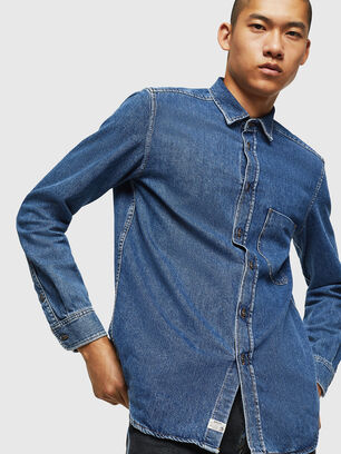 D-BER-P, Azul medio - Camisas de Denim