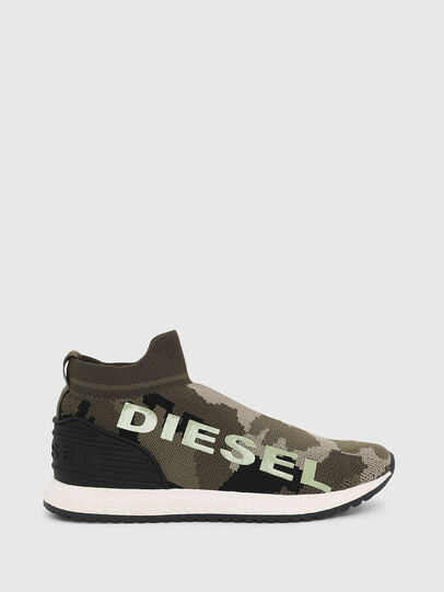 Diesel - SLIP ON 03 LOW SOCK, Verde Camuflaje - Calzado - Image 1