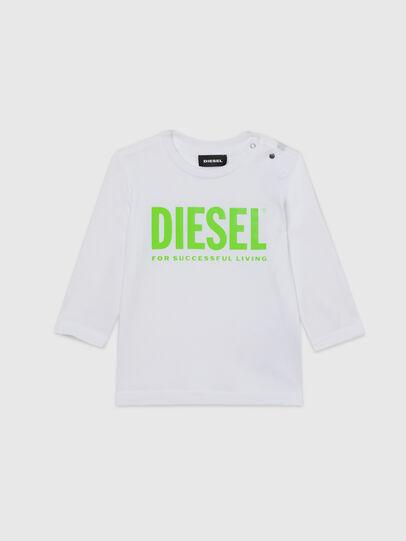 Diesel - TJUSTLOGOB ML, Blanco/Verde - Camisetas y Tops - Image 1