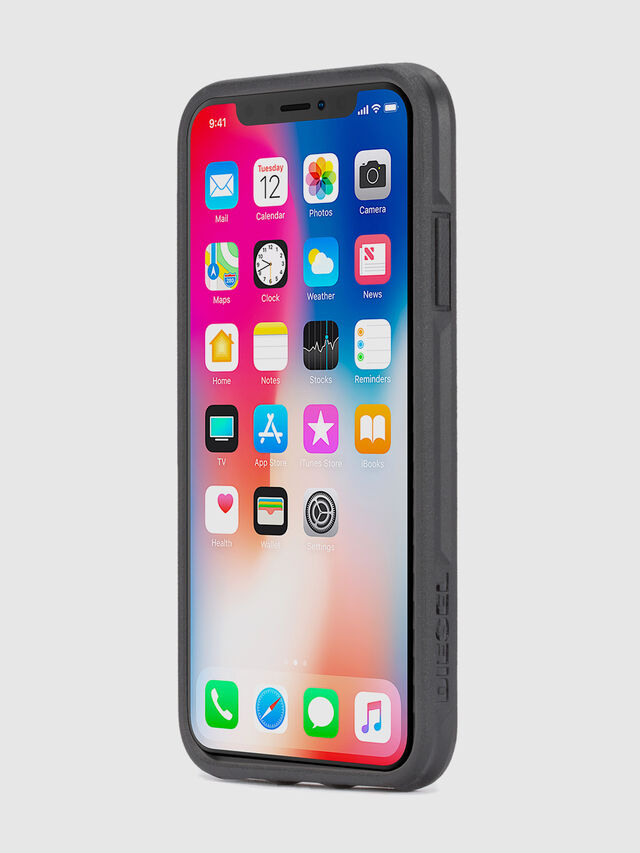 MOHICAN HEAD DOTS BLACK IPHONE X CASE, Negro