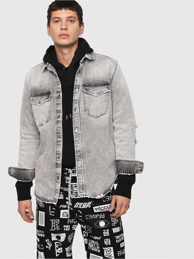 D-ROOKE-L Hombre  Camisa vaquera de estilo tejano con rotos  fafea1128cb