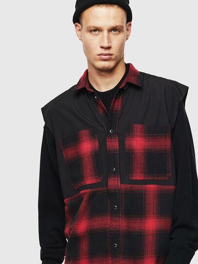 Diesel - D-WELLES, Negro/ Rojo - Camisas de Denim - Image 5