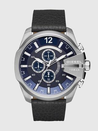 41be14698890 Reloj con correa en piel negra y logo de Diesel