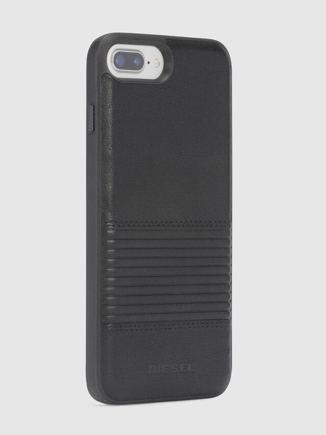 BLACK LINED LEATHER IPHONE 8 PLUS/7 PLUS/6s PLUS/6 PLUS CASE, Negro