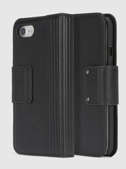 Diesel - BLACK LINED LEATHER IPHONE 8/7 FOLIO,  - Fundas tipo libro - Image 1